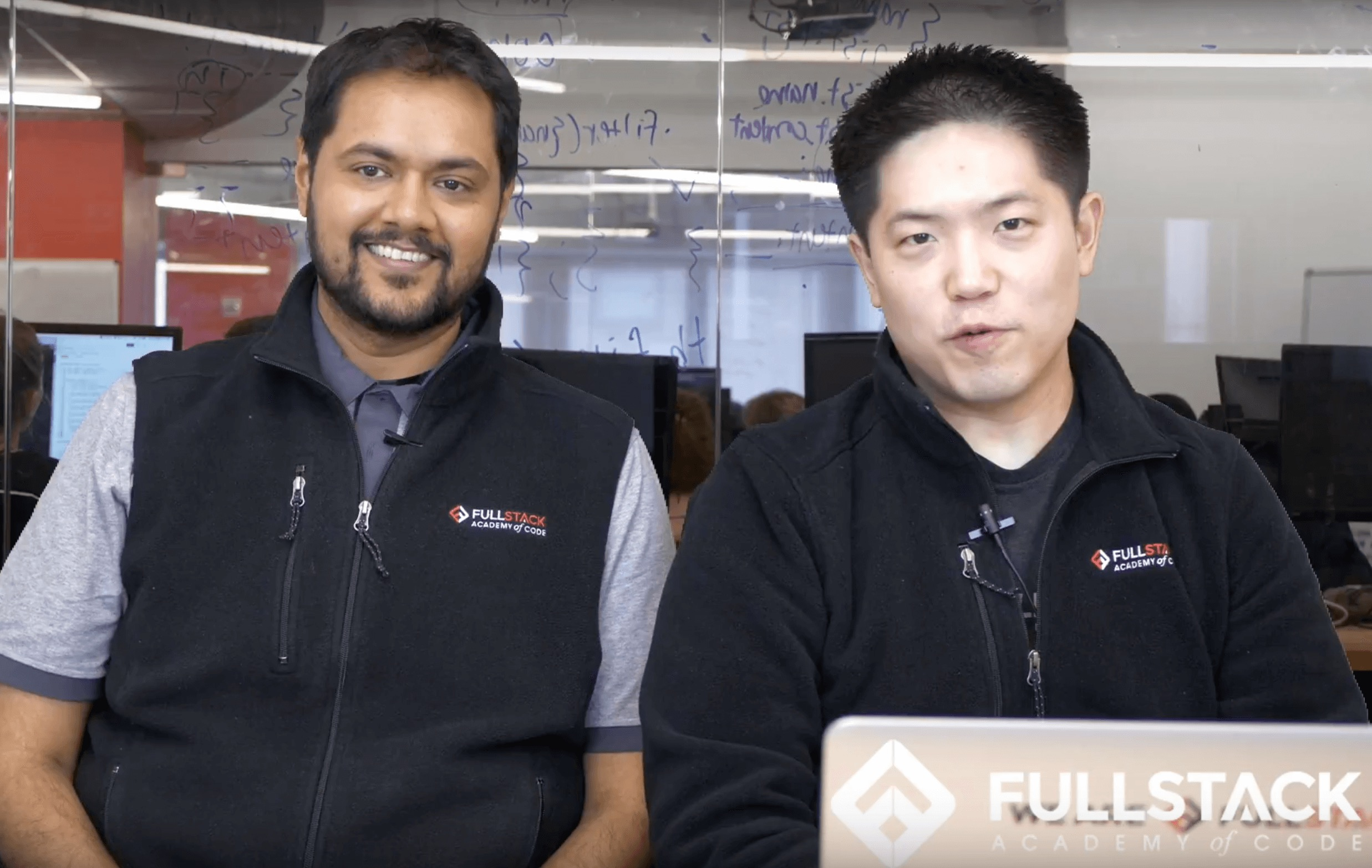 David and Nimit, Fulllstack Academy founders, teaching Bootcamp Prep Online